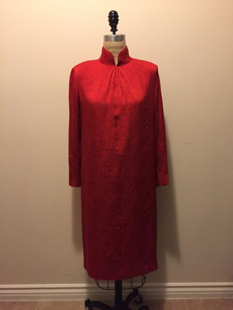 Vintage Chanel Creations Paris Red Silk Dress 1970s 1980s Sz 8
