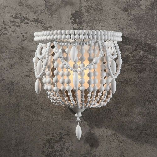 Distressed White Indoor Wall Sconce Bedside Wood Beaded Wall Lighting Decor Lamp