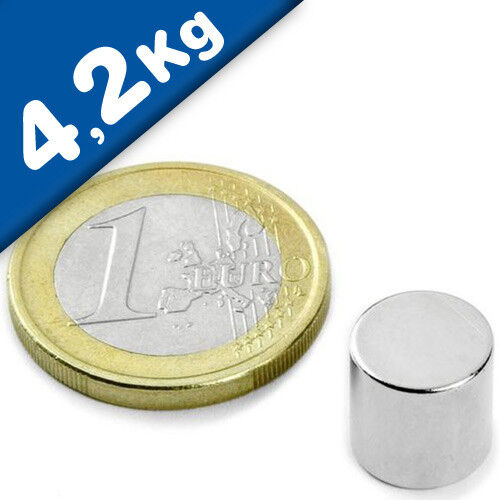 NdFeB hält 4,2kg 10 x Scheibenmagnet Rundmagnet Ø10x10mm – Neodym N48 Nickel