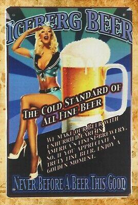 all metal wall art Iceberg beer pin up girl bar pub tin metal sign