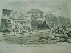 Gravure 1866 - Station Du Chemin De Fer De Panama à Aspinwall Nouvelle Grenade Couleurs Harmonieuses