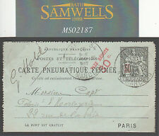 MS2187 1903 France Paris PNEUMATIC POST *Taxe Reduite* Stationery Clockmaker