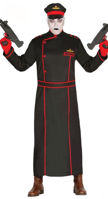 Halloween Costume 38.Mens Commissar Costume Fancy Dress Halloween Black Military Coat Hat 38 44 New