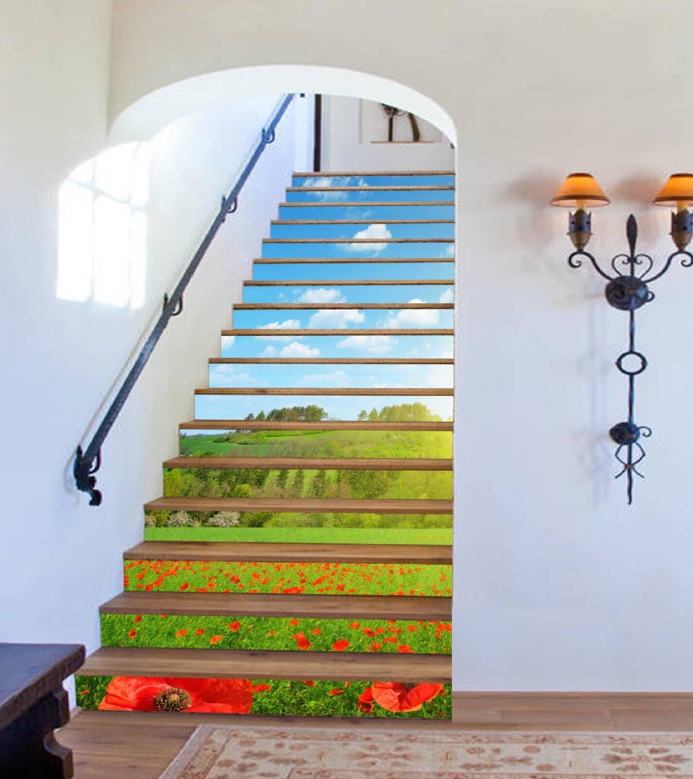 3D Meadow Flowers Stair Risers Decoration Photo Mural Vinyl Decal Wallpaper CA