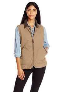 867b07659b4 Details about Woolrich Women's Dorrington Barn Vest Tan Brown Corduroy  Collar M