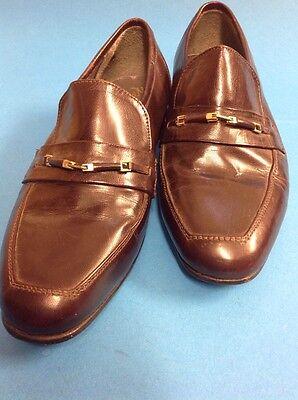 Un par de Para Hombre Itallian Full Cuero Vintage Zapatos UK Size 7 Slip On cálido marrón