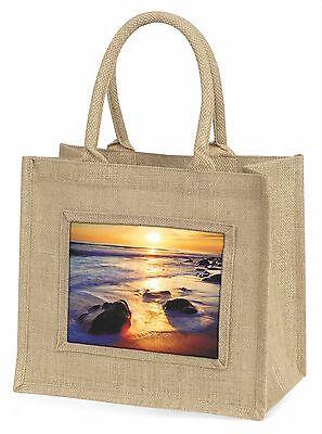 Abgeschieden Sonnenuntergang Strand Große Natürliche Jute-einkaufstasche