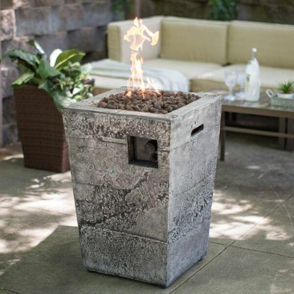 Gas Fire Column Propane Outdoor Stone Fireplace Patio ...
