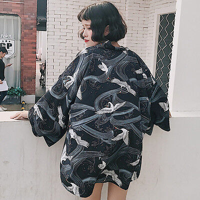 Japanese Style Harajuku Vintage Preppy Style Summer Print Kimono Bathrobe Coat