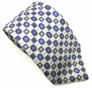 """Emanuel Ungaro Herren Krawatte blau grau weiß 100% Seide 3.75"""" Breite 58"""" Länge"""