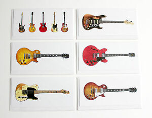 Famous blues rock guitars pack of 6 greeting cards dl size ebay image is loading famous blues rock guitars pack of 6 greeting m4hsunfo