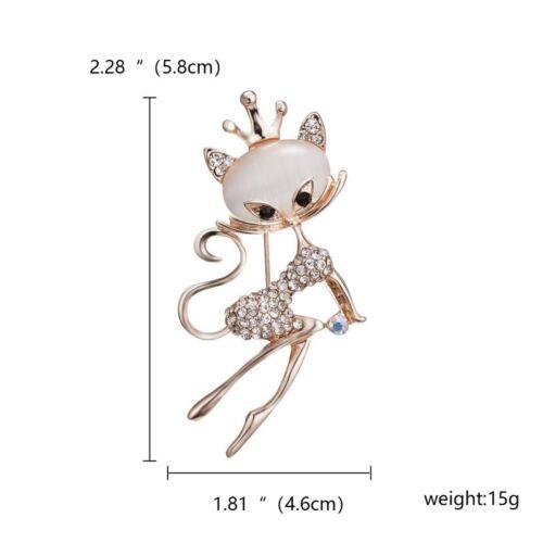 Dibujos animados encantadora Cristal Gema Gato Búho Animal Broche Pin cosage Joyería para Mujer Nuevos