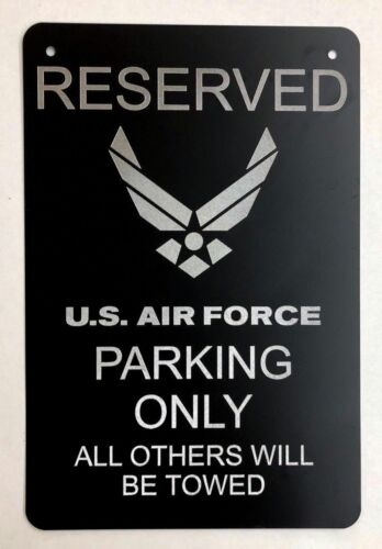 AIR FORCE Logo Car Tag Diamond Etched on Black Aluminum License Plate