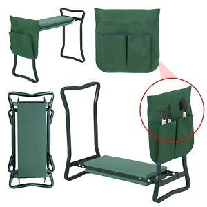 Details About Garden Kneeler Seat W/EVA Folding Portable Bench Kneeling Pad  And Tool Pouch New