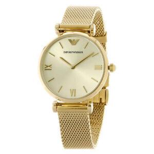 100-New-Emporio-Armani-AR1957-Retro-Silver-Dial-Gold-Tone-Women-039-s-Watch-32mm