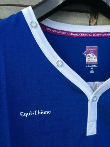 NEW Childs Age 12 Equi-Theme Nomandy WEG FEI Embroidered Electric Blue T-Shirt
