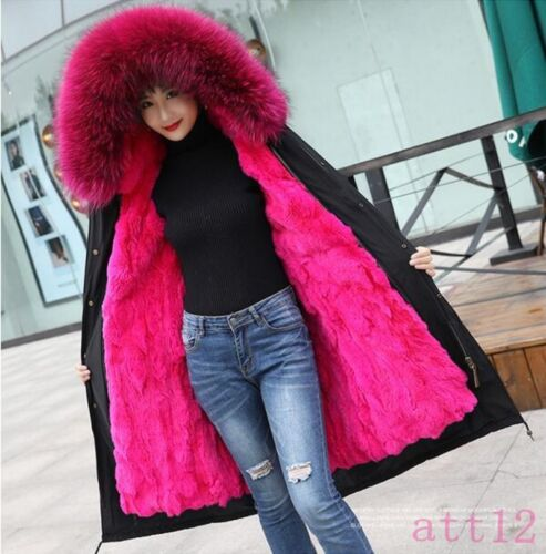 Snow Real Fox Hooded Rabbit 100 real Womens Fur Warm Coat Lined Waterproof 78Fw7pq