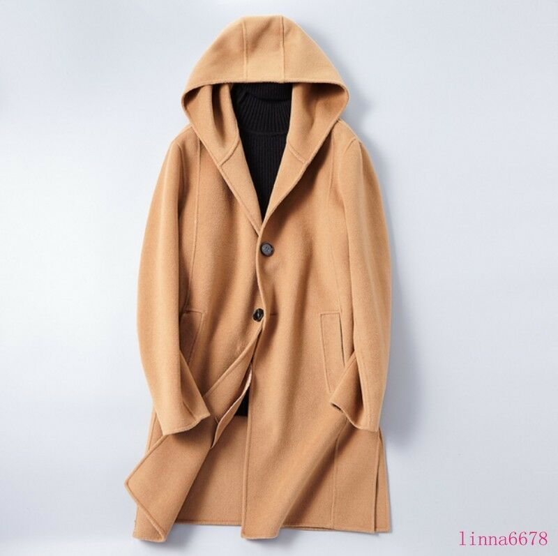 Men 100% Cashmere Slim Fit Formal Casual Hooded Long Trench Winter Overcoat Coat
