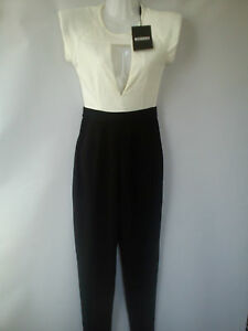 *stunning*new White Black Missguided Ladies Womens Jumpsuit Playsuit Size 6 (0.3