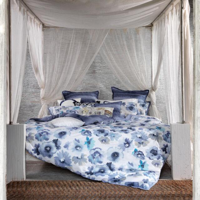100% Cotton Floral Blue White Flowers Duvet Cover Bedding Set