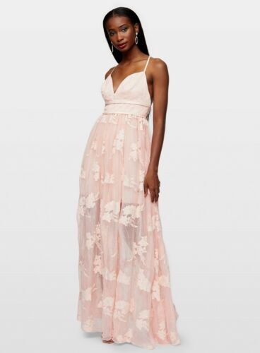 Miss Selfridge Womens Pink Embroidered Organza Maxi Dress Sleeveless V-Neck Wear
