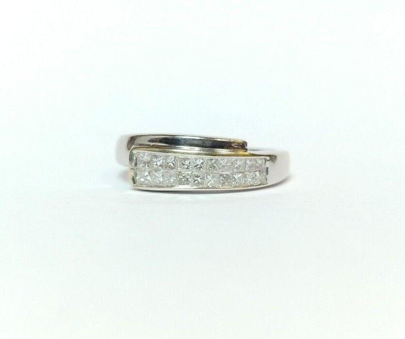 14k White gold .57 Carat Princess Cut Diamond Ring Size 6 3 4