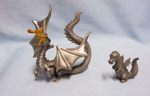Miniatures-Mythical-Dragon-Figurines-Rawcliffe-Pewter-Fire-Breathing-Dragon-80s