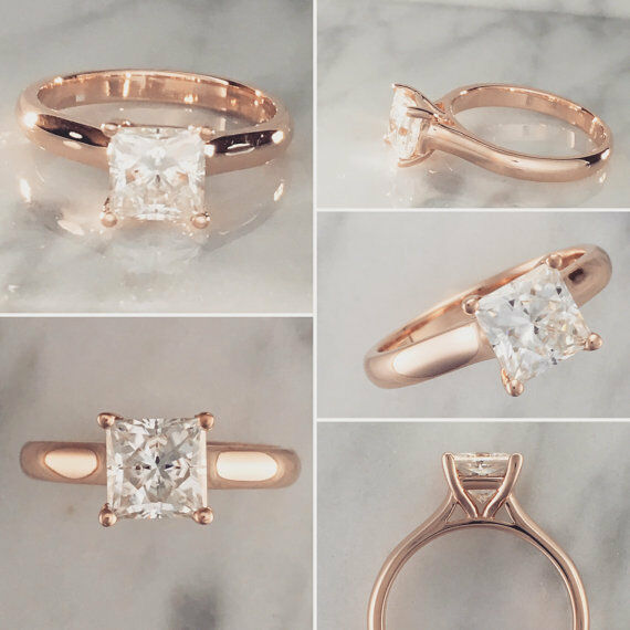 2.00 Ct Princess Solitaire Diamond Engagement Ring 14K Real pink gold Size 5 6 7
