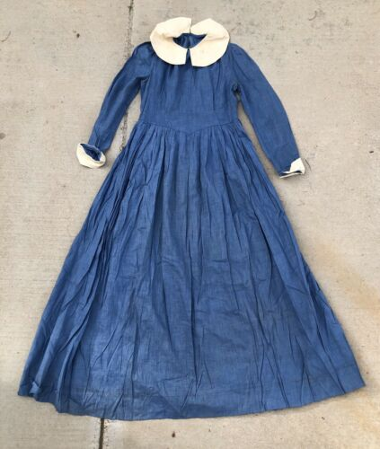 Vintage 20s 30s Blue Dress antique work house farm