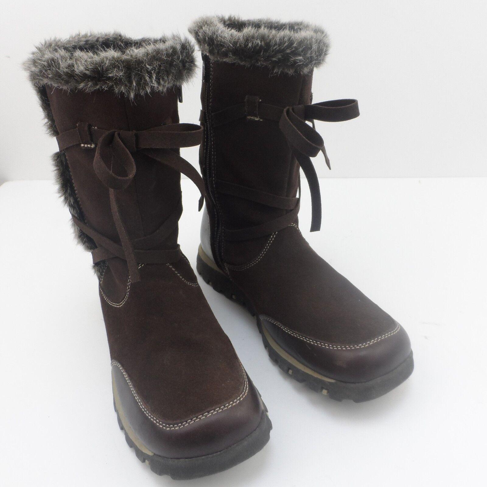 Skechers Brown Mid Calf Snow Boots Size 5 Faux Suede Faux Fur Trim