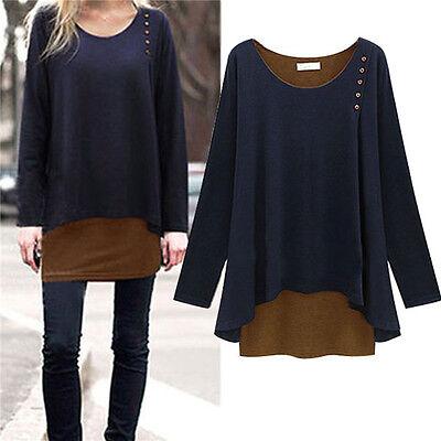 Women Irregular Long Blouse Shirts Loose Tunic Sweater Pullover Tops Plus Size