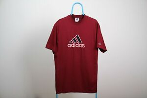90's VINTAGE ADIDAS Big Logo Spell Out T-Shirt Tee Burgundy Color Size M VGC