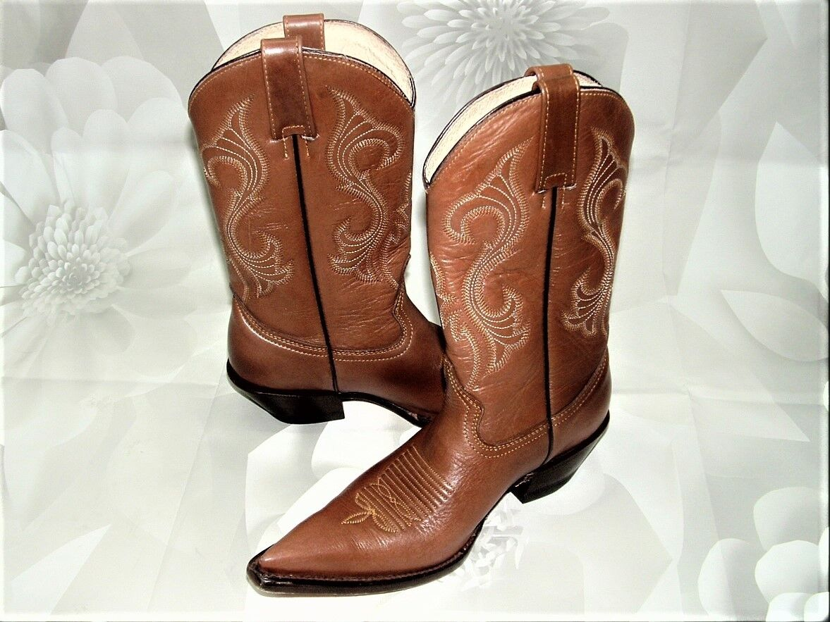 REYME Women's Ranch WesTeRN CoWBoY BRoWN Leather Boots Size US 7.5