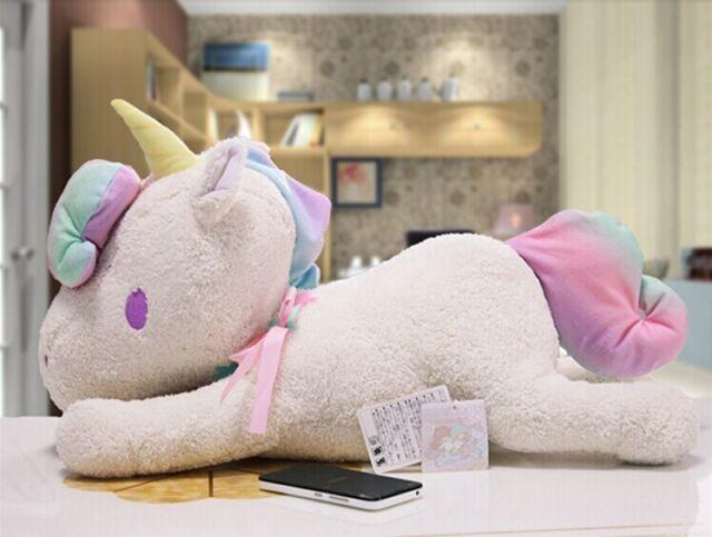 "Sanrio Little Twin Stars Pink /Blue/White Unicorn Pillow Cushion Plush Toy 23"""