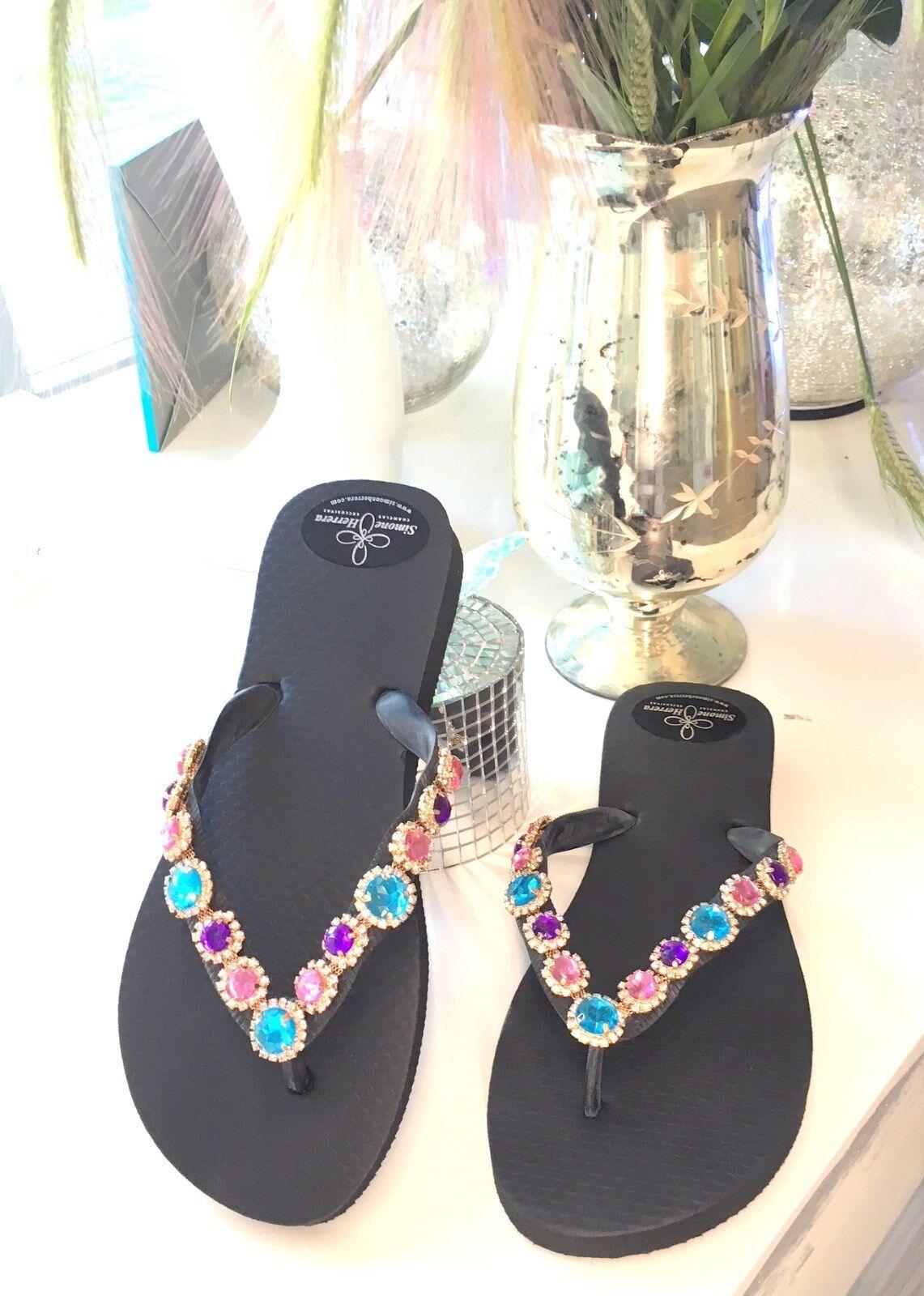 Sandalias señora sandalias tira dedos zapatos zapatos zapatos brillo pedrería multiColor 39 40  liquidación hasta el 70%
