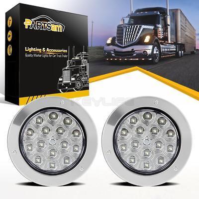 """2X 6/"""" Oval White 10 LED Reverse Backup Tail Marker Light For Trailer Truck RV"""