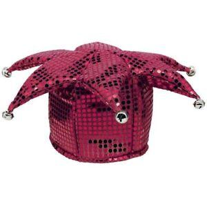 BURGUNDY-SEQUIN-JESTER-HAT-Halloween-Costume-Birthday-Party-Supplies-Favor-Cap