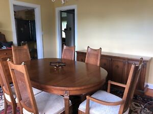 Drexel San Remo Dining Table 6 Chairs Buffet C 1963 Pecan