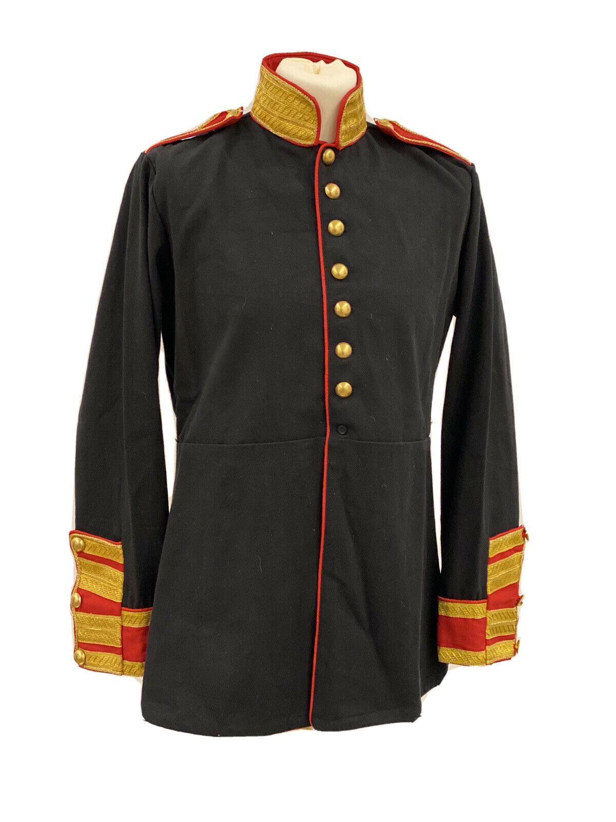 """Military Steampunk Black/Red Jacket With Brass Buttons In 44""""46"""""""