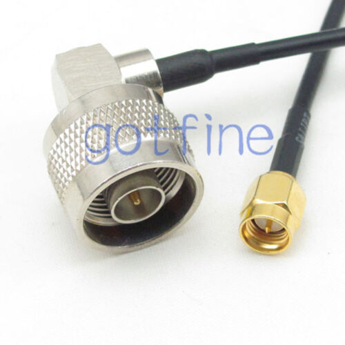 SMA male plug to N male right angle 90 degree RG58 Coax jumper pigtail cable lot