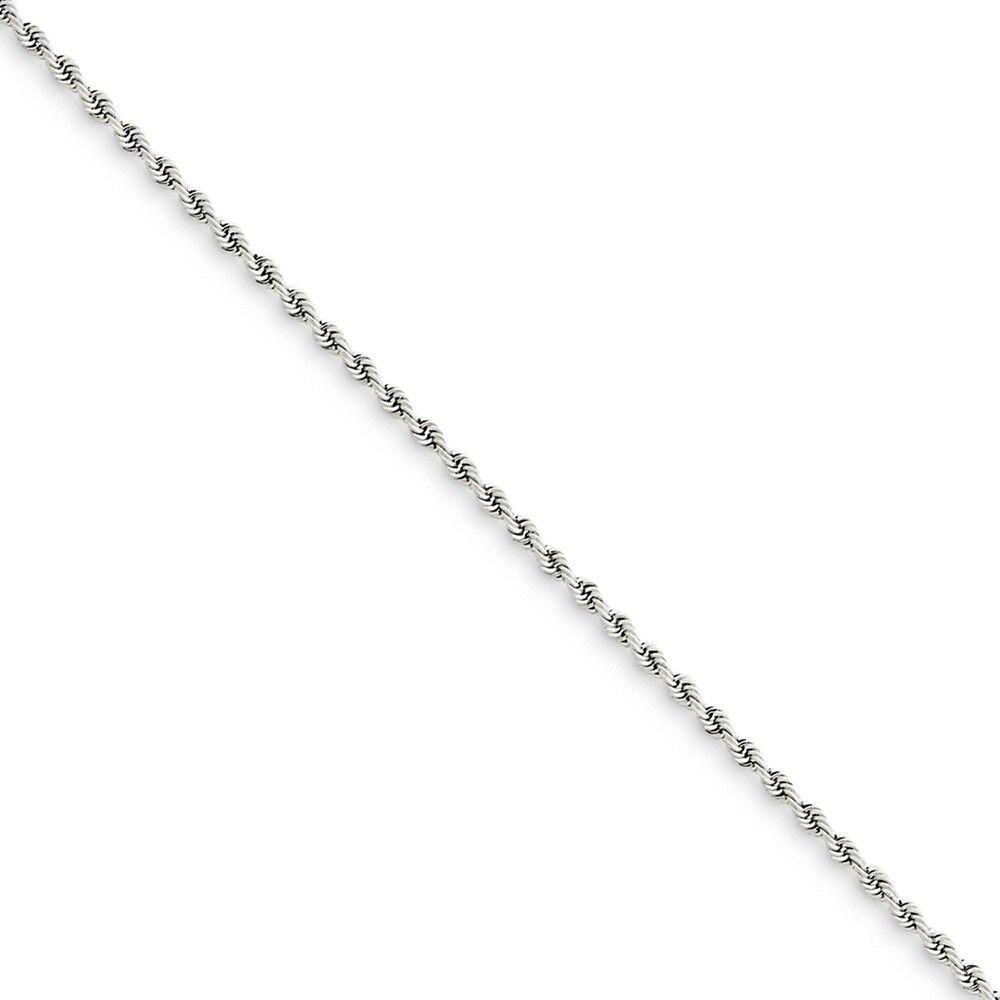14k White gold 1.5mm Handmade  Rope Chain Bracelet 8 Inch