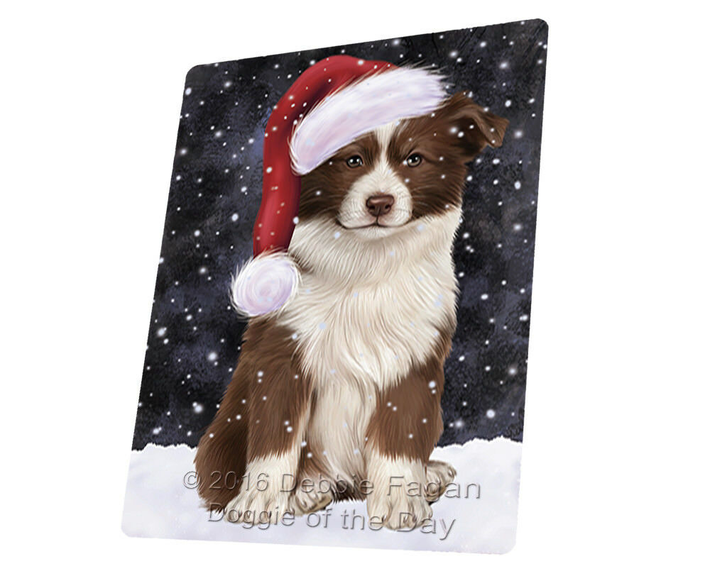 Let it Snow Christmas Holiday Border Collie Dog Woven Throw Sherpa Blanket T370
