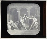 ANTIQUE 1880'S MAGIC LANTERN GLASS SLIDE - OATH OF THE HORATII