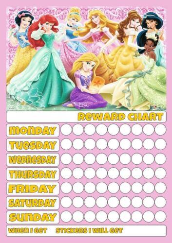 Disney Princess C Reutilizável recompensa gráfico Inc Adesivos E Caneta Bom comportamento Potty