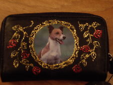 NEW BLACK LEATHER GORGEOUS JACK RUSSELL   PICTURE PURSE /WALLET