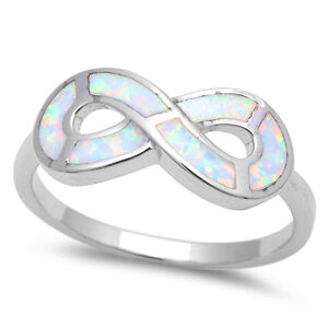white opal infinity symbol 925 sterling silver ring sizes