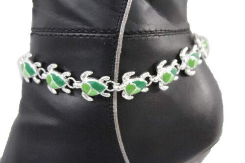 Women Silver Boot Chain Anklet Bracelet Shoe Bling Jewelry Turtle Charm Nautical