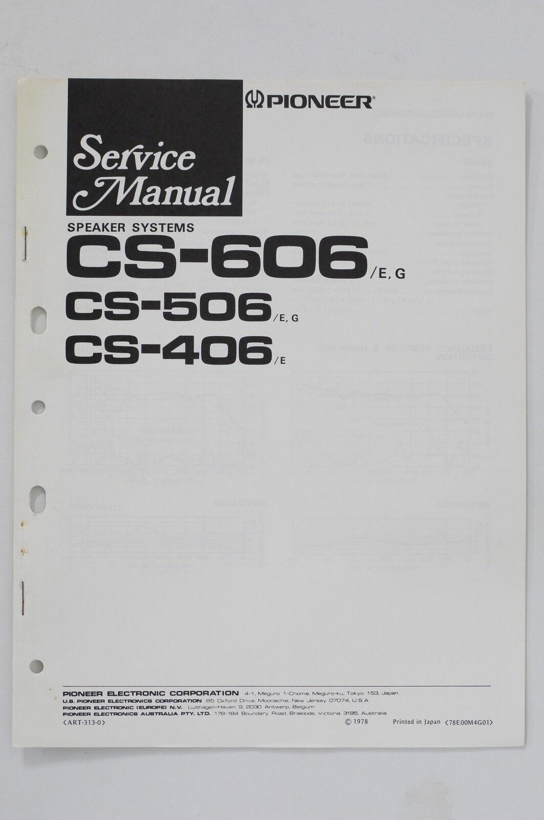 Pioneer Cs 606 506 406 Original Speaker System Service Manual Wiring Diagram
