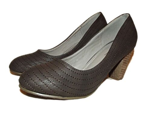 STYLISH NEW LADIES BROWN HEELS COURT SHOES OFFICE WORK CASUAL SZ 2.5-7