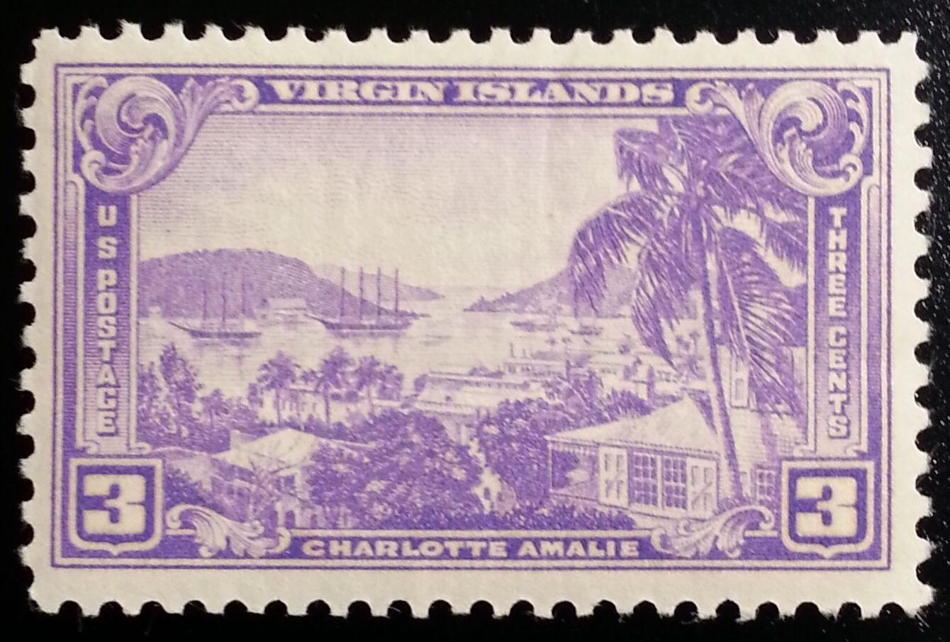 1938 3c Virgin Islands Territory, Charlotte Amalie Scot